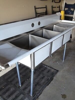 """90"""" Stainless Steel 3 Compartment Sink With Drain Boards"""