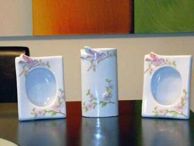 Girl Room Decor Pink Bird Ceramic (2) Picture Frame and One Vase