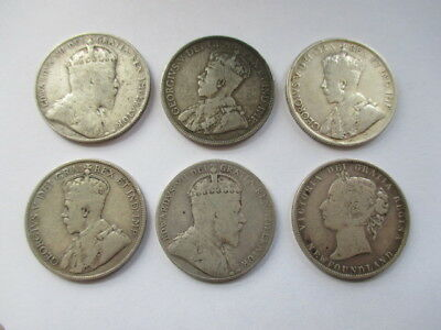 Lot Of 6 Different Fifty Cents / 50 Cents Silver Newfoundland Coins