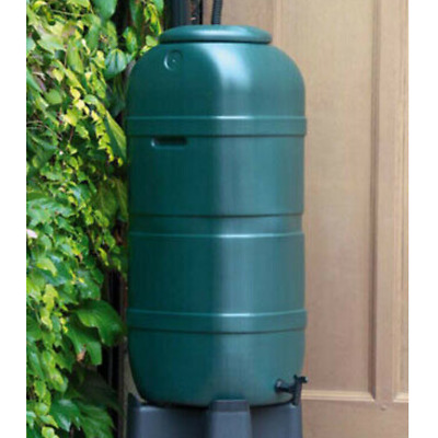 SPACE SAVING 100L SLIMLINE WATER BUTT with Secure Lid & Tap RAIN COLLECTOR
