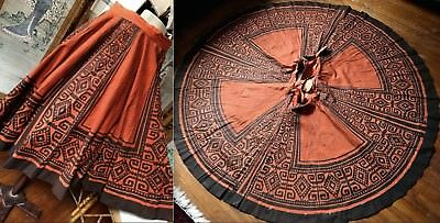Vtg Mexico Handpainted Cotton Muslin Full Circle Skirt Rust Orange Brown 28Waist