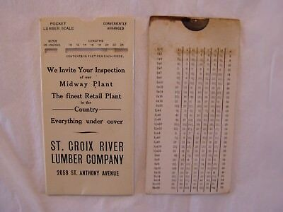 Vintage 1920's St Croix River Lumber Co St Paul Mn Celluloid Pocket Lumber Scale