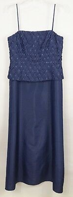 Cachet 8 Formal Dress & Jacket Blue Beaded Crysal Buckle Taffeta Long A-line