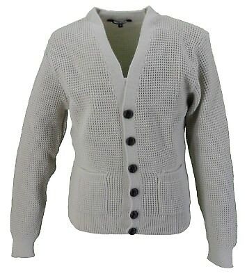 Classic Retro Waffle Knit Stone CARDIGAN with Pockets