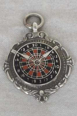 A Superb Solid Sterling Silver & Enamel Darts Watch Chain Fob Medal.