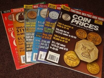 6 Coin Price guides 1 Coins, 5 Coin Prices Magazines