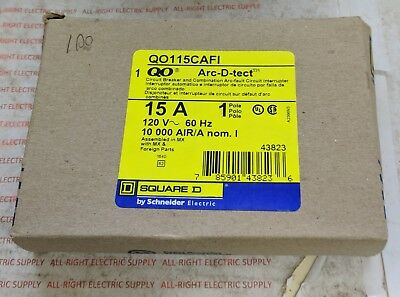 New In Box Square D Qo115Cafi 15A Combination Arc-Fault Breaker