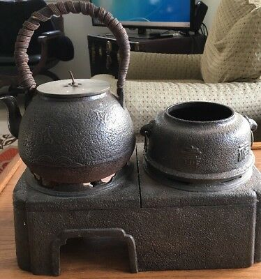 Very Old Japanese Tea Ceremony w/Signed Tetsubin Teapot,Chagama kettle & Burners