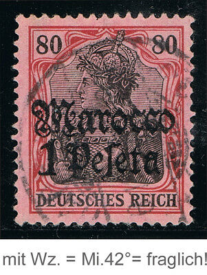 DEUTSCHE POST IN MAROCCO 42Fälschung ° = GERMAN OFFICES MOROCCO #41 used forgery