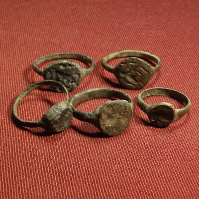 Lot of 5 Roman Bronze Seal / Signet Ring