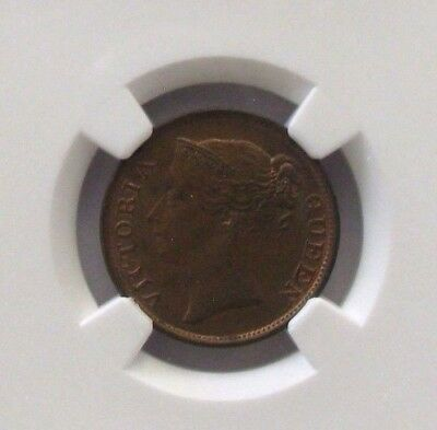 "1845 Straits Settlements 1/2 Cent With ""WW"" NGC AU58 BN KM#2 - No Reserve"