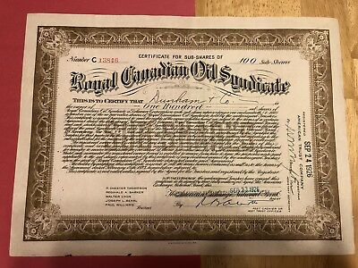 Royal Canadian Oil Syndicate Stock Certificate