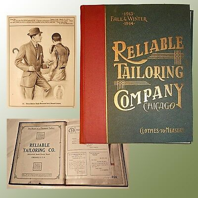Reliable Tailoring Swatch Book W/ Mens Fashion Art Fall & Winter 1913 /1914 Rare