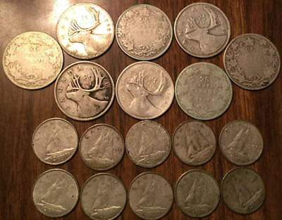 Lot Of Silver Canada 25 Cents And 10 Cents Quarters And Dimes 18 Coins Total