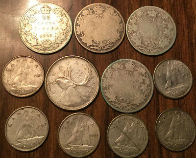 Lot Of Silver Canada 25 Cents And 10 Cents Quarters And Dimes 11 Coins Total