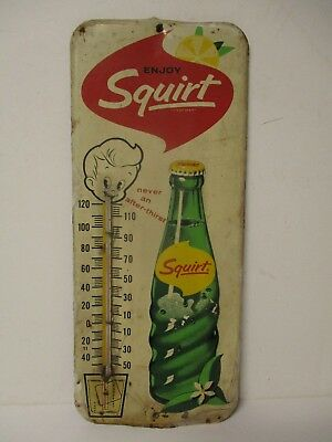 Vintage 1963 Classic Soda Squirt Metal Advertising Thermometer