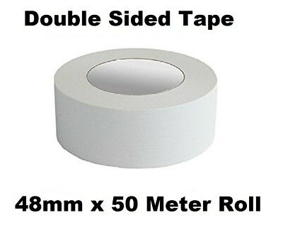 48mm Double Sided Clear Sticky Tape Roll Strong 50M Permanent Adhesive Sellotape
