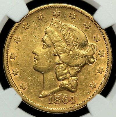 Ngc Xf45 $20 Gold Liberty Double Eagle Scarce Civil War Date Nice Surfaces (Bc4)