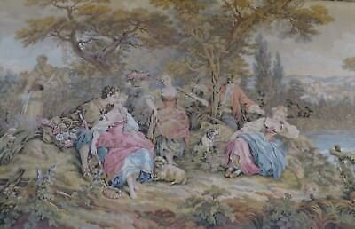 Romantic Vintage French Tapestry Panel / Wall Hanging  ~ Delightful River Scene