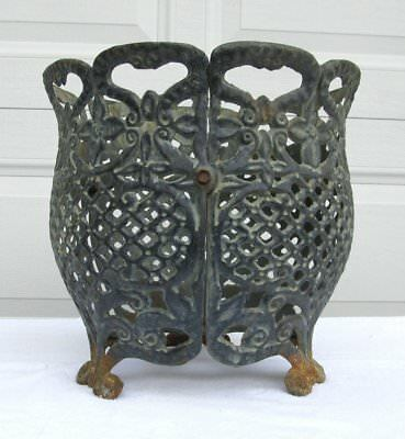 """Shabby Vintage Rustic 12"""" Cast Iron Metal Reticulated Footed Bowl Garden Planter"""