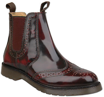 Mens Oxblood Leather Slip On Chelsea Ankle Brogue Boots UK Size 11 Air Sole