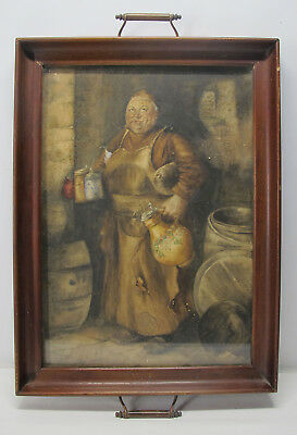 Antique Continental Drinking Friar Monk Watercolor Painting Serving Tray NR yqz