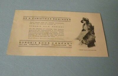 1917 Sorosis Shoe Company Advertising Christmas Card Philadelphia Pennsylvania