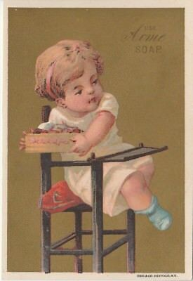 Acme Soap Baby in High Chair Gilt Victorian Trade Card