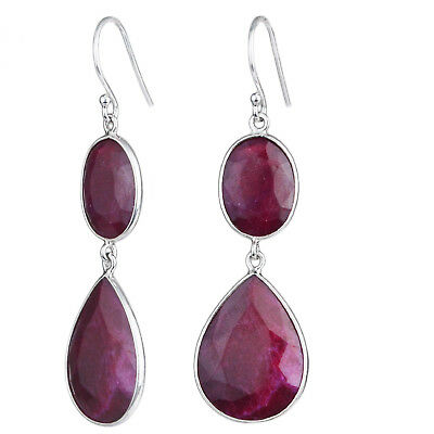 Ruby gemstone 925 Sterling Silver Earrings 11.06g Jewelry crystalcraftindia