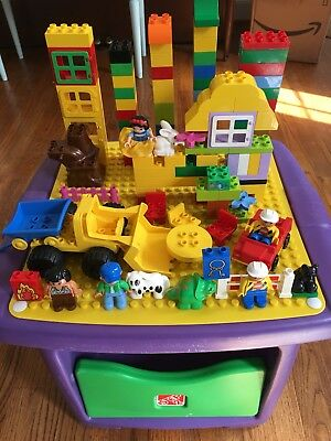 STEP 2 Purple LEGO DUPLO Storage Table Building Blocks Bricks Cars People Lot & STEP 2 PURPLE LEGO DUPLO Storage Table Building Blocks Bricks Cars ...