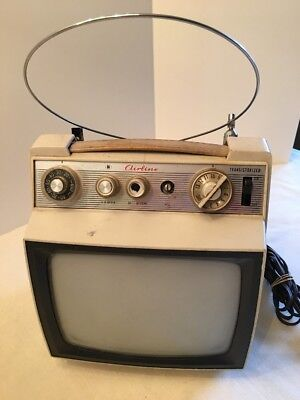 "Tiny Vintage 1960's Montgomery Ward Airline 63-1966 Portable 8.5"" Television TV"