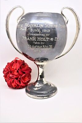 Antique Silver Plated Trophy Cup Special Franklin School Trophy 1913 by Adelphi