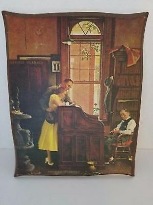 """Norman Rockwell """"The Marriage License"""" on wood to hang on the wall. 11.5 X 14"""