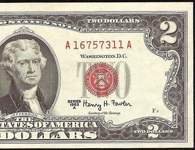 1963 A $2 TWO DOLLAR BILL UNITED STATES LEGAL TENDER RED SEAL NOTE Fr 1514 AU