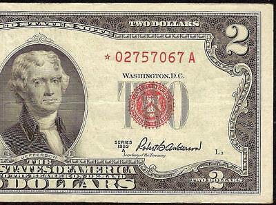 Star 1953 A $2 Dollar Bill United States Legal Tender Red Seal Note Paper Money