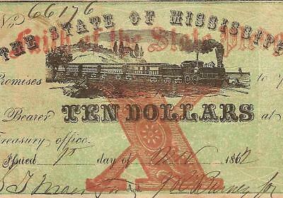 1862 $10 Dollar Faith Of The State Mississippi Note Large Currency Paper Money
