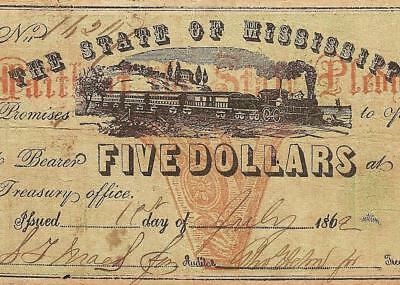 1862 $5 Dollar Faith Of The State Mississippi Note Large Currency Paper Money