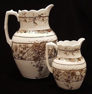 Two Victorian Aesthetic Movement Brown Transfer Pitchers RARE