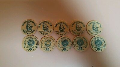 "10 Wooden Tokens 1933 Bremerton Wash. ""old Ironsides"""