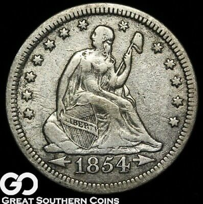1854 Seated Liberty Quarter, with Arrows, Tough Type