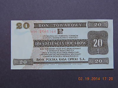 Poland -  20 Dollars -1979 -Rare Exchange Certificates-Bon Towarowy -Gem Unc