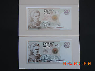 Poland - 20 Zl  2011 Very Rare  Set 2  Pc Wzor/specimen   Gem Unc With Folder