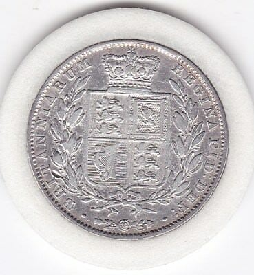 Scarce  1845   Queen  Victoria  Half  Crown (2/6d) - Sterling  Silver Coin