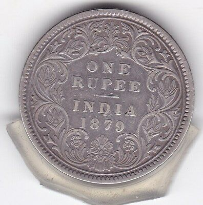 1879  One  Rupee  India - British  Silver Coin