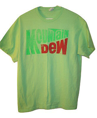 retro MOUNTAIN DEW T SHIRT Pepsi Co. Do Soda Pop Green Short Sleeve Mens L Large