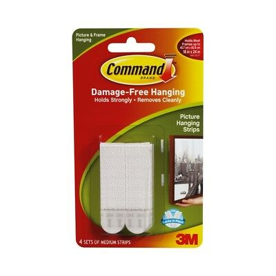 Command 5.4kg White Medium Picture Hanging Strips - 4 Pack