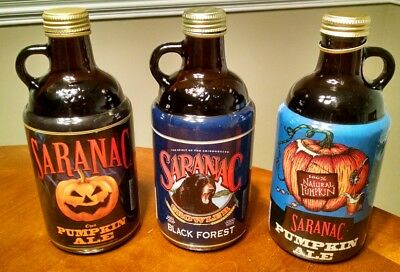 Set of 3 Rare Limited Saranac Beer 32oz Growler Bottles Empty Clean Lot Man Cave