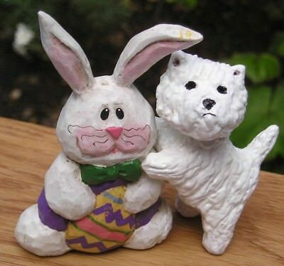 West Highland White Terrier -WESTIE- with a WHIMSICAL BUNNY!