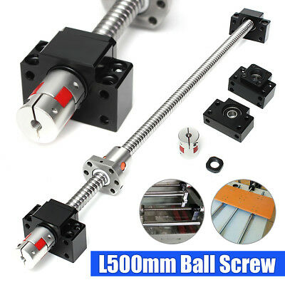 Ball Screw SFU1605-L500mm-C7 + Supporting Seat BK/BF12 + 1Pcs 6.35×10mm Couplers