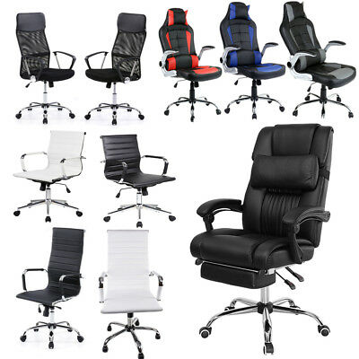 Office Chair Executive Recliner Racing Adjustable Gaming Support Fx Leather Unit